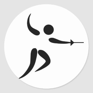 Competitive and Olympic Fencing Pictogram Classic Round Sticker