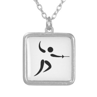 Competitive and Olympic Fencing Pictogram Silver Plated Necklace