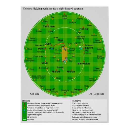 Complete Diagram of Cricket Fielding Positions Print