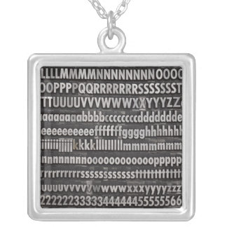 Complete Font Letterpress Type Silver Plated Necklace