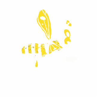 Completely yellow bending Bee Standing Photo Sculpture