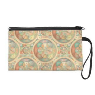 Complex geometric pattern wristlet purse