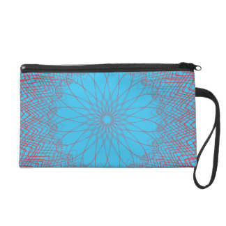 Complex Guilloche Flower baby red blue Wristlet Clutches