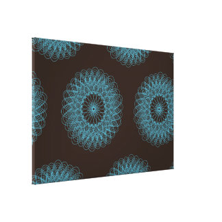 Complex Guilloche Flower pattern brown teal Stretched Canvas Print