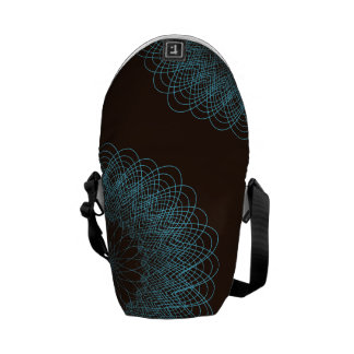 Complex Guilloche Flower pattern brown teal Courier Bags