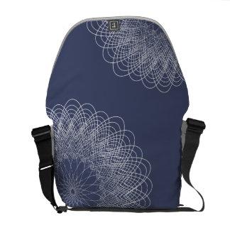 Complex Guilloche Flower patterns blue Courier Bags