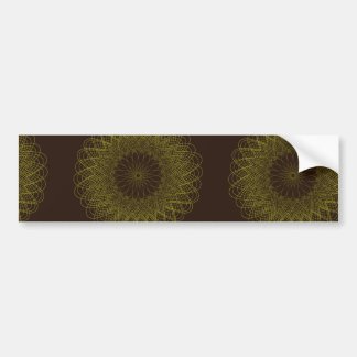 Complex Guilloche Flower patterns brown yellow Bumper Stickers