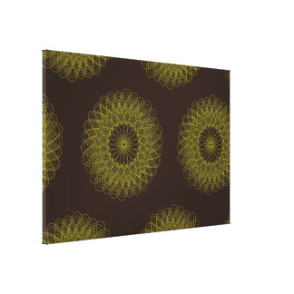 Complex Guilloche Flower patterns brown yellow Canvas Prints