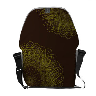 Complex Guilloche Flower patterns brown yellow Courier Bag