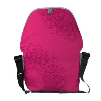 Complex Guilloche Flower patterns magenta Messenger Bags