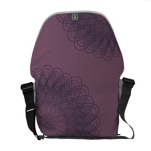 Complex Guilloche Flower patterns muted red blue Courier Bags