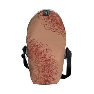 Complex Guilloche Flower patterns red orange Messenger Bags