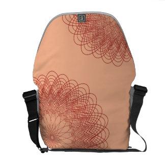 Complex Guilloche Flower patterns red orange Commuter Bag