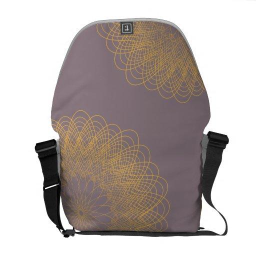 Complex Guilloche Flower pink yellow Messenger Bags