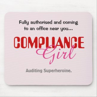 Compliance Girl Funny Female Auditor Superheroine Mouse Mat