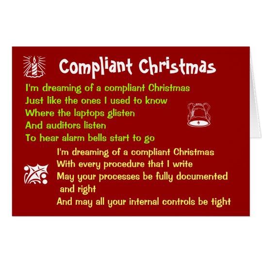 Compliant Christmas White Christmas Lyrics Parody Card