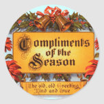 Compliments of the Season Round Stickers