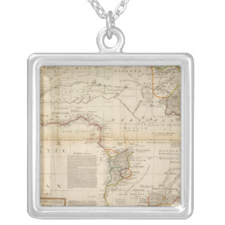 Composite Africa hand colored map Silver Plated Necklace