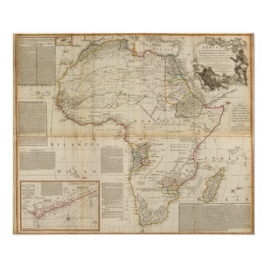 Composite Africa hand coloured map Poster