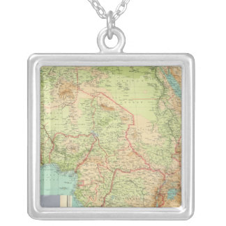 Composite Africa with shipping routes Silver Plated Necklace