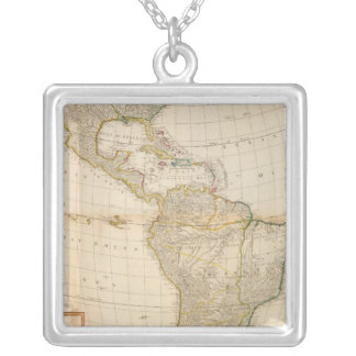 Composite America hand colored map Silver Plated Necklace