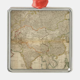 Composite Asia hand colored map Silver-Colored Square Decoration