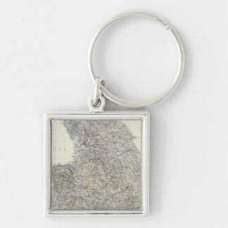 Composite England, Wales Silver-Colored Square Key Ring