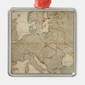Composite Europe with statistical tables Silver-Colored Square Decoration