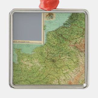 Composite France, Belgium, Holland Silver-Colored Square Decoration