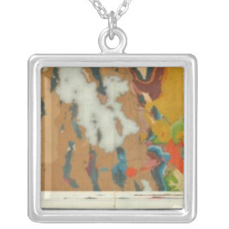 Composite Geological maps IV, 40th Parallel Survey Silver Plated Necklace