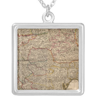 Composite map of french settlements silver plated necklace