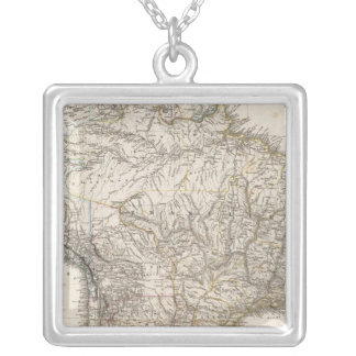 Composite Map of South America Silver Plated Necklace