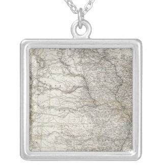 Composite Map of United States of America Silver Plated Necklace
