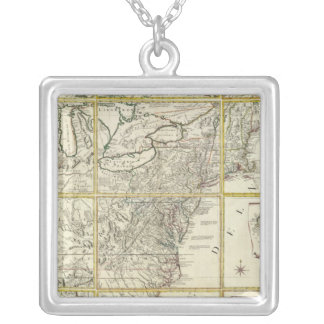 Composite map of United States Silver Plated Necklace