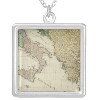 Composite Mediterranean Atlas Map Silver Plated Necklace