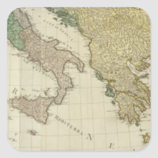 Composite Mediterranean Atlas Map Square Sticker