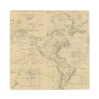 Composite North & South America Wood Coaster