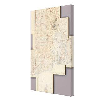 Composite Rhode Island Map Canvas Print