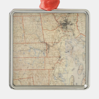 Composite Rhode Island Map Silver-Colored Square Decoration