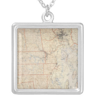 Composite Rhode Island Map Silver Plated Necklace