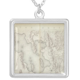 Composite Topographical maps IV Silver Plated Necklace