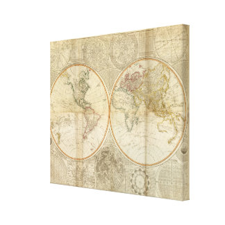 Composite World hand colored map Canvas Print