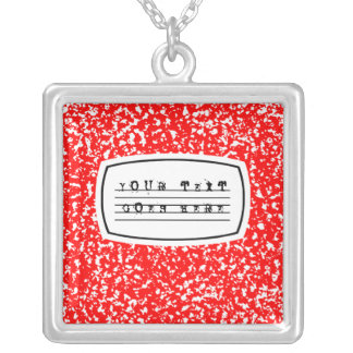 composition book square pendant necklace