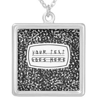 composition book square pendant necklace