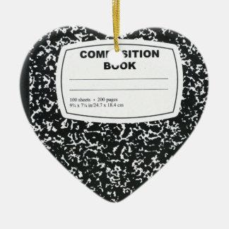 Composition Book Student Teacher Ceramic Heart Decoration