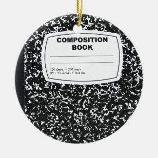 Composition Book Student Teacher Round Ceramic Decoration