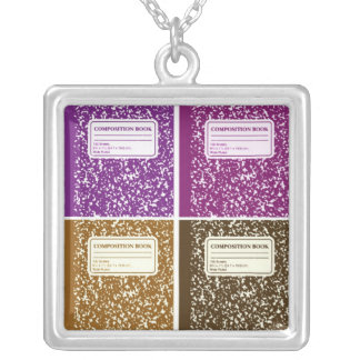 Composition Book/Student-Teacher Square Pendant Necklace