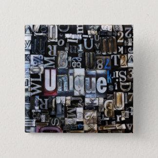 Composition of letterpress blocks 15 cm square badge