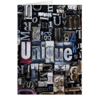 Composition of letterpress blocks card