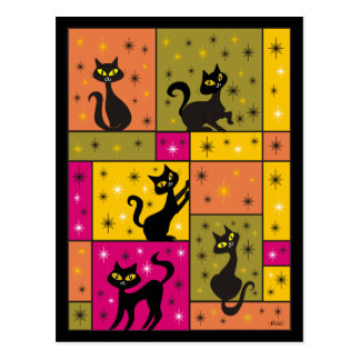 Composition with 5 Black Cats Postcard